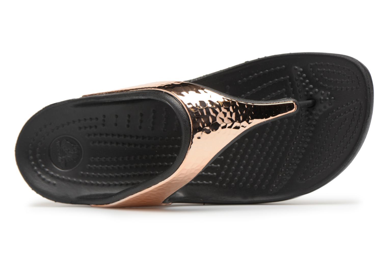 Tongs Crocs Sloane Hammered Met Flip W Or et bronze vue gauche