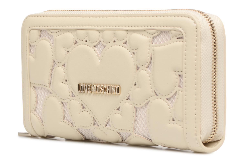 Pelletteria Love Moschino Portefeuille Love Intarsia Bianco modello indossato