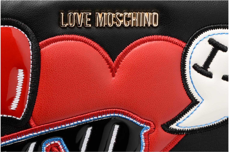 Pelletteria Love Moschino Portefeuille Patches Nero immagine sinistra