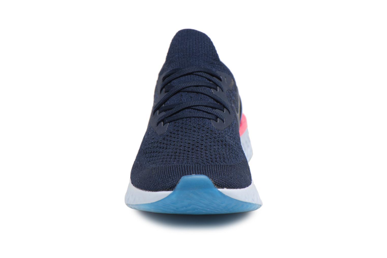 Chaussures de sport Nike Wmns Nike Epic React Flyknit Bleu vue portées chaussures