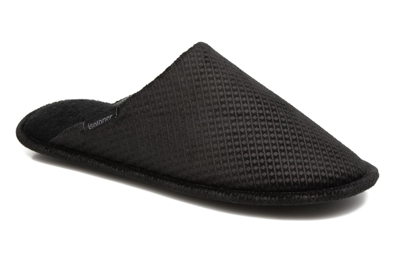 Pantoffels Isotoner Mule plate suédine embosée Zwart detail