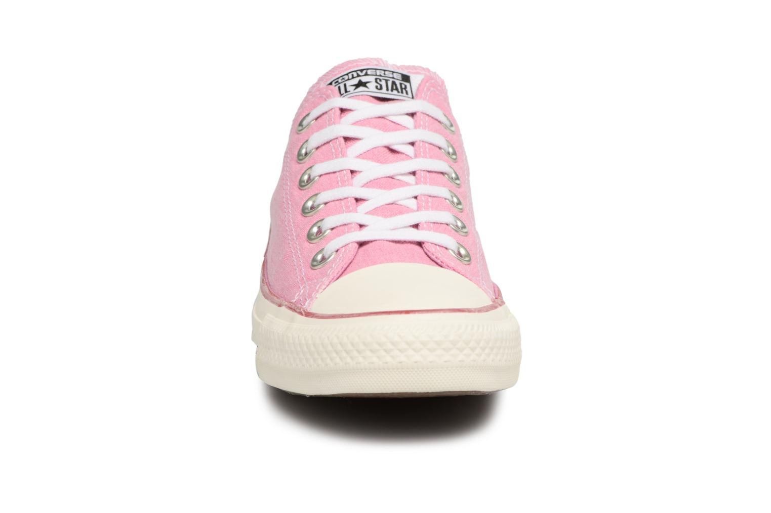 Baskets Converse Chuck Taylor All Star Stone Wash Ox W Rose vue portées chaussures