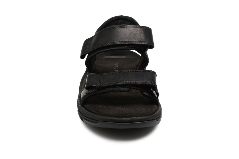 Sandalen Timberland Roslindale 2-Strap schwarz schuhe getragen