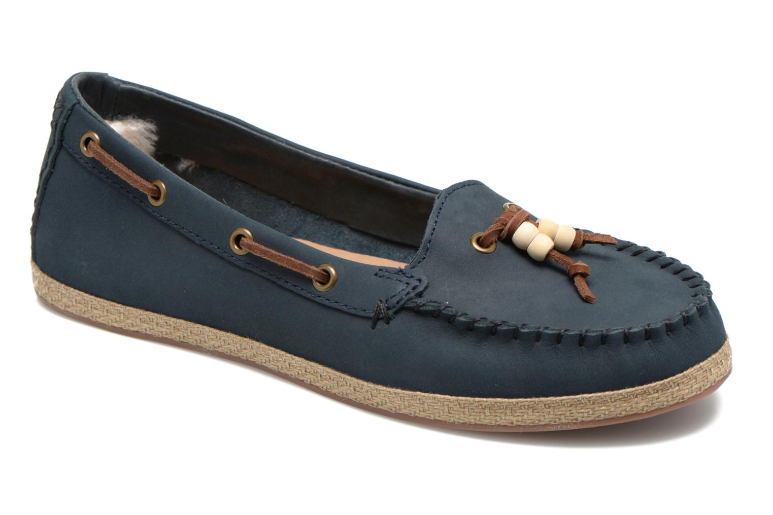 5b5ca217782 Details about UGG SUZETTE CHIVON NUBUCK LEATHER SLIP ON MOCCASINS SHOES -  SIZE 5 - NAVY BLUE